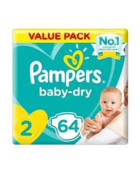 Pampers New Baby-Dry Size 2 3-6 kg Value Pack 64's