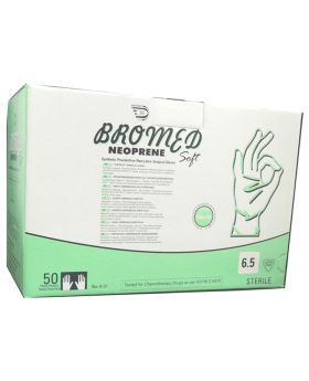 Bromed Neoprene Synthetic Powder Free Non Latex Surgical Gloves 6.5 50's