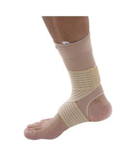 Olympa Elastic Ankle Support with Strap Beige