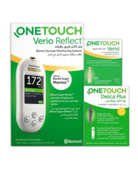 OneTouch Verio Reflect™ Blood Sugar Monitor + OneTouch Verio® Test Strips 50's + OneTouch® Delica Plus® Offer Pack