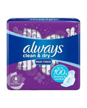 Always Clean & Dry Large with Wings Pads 30's 12630