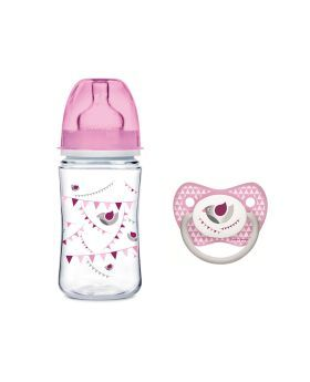 Canpol Babies EasyStart Anti-Colic Bottle with Free Soother Pink 260 mL 0164