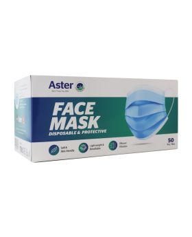 Aster Disposable 3-ply Face Mask 50's