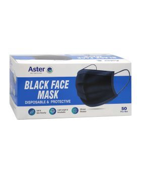 Aster Disposable & Protective Face Mask 3Ply Black 50's