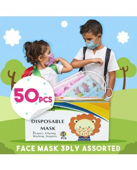 Kids Disposable 3ply Face Mask Assorted 50's